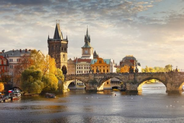 Panoramic view of Vltava river and Charles bridge in Prague, capital of the Czech republic
